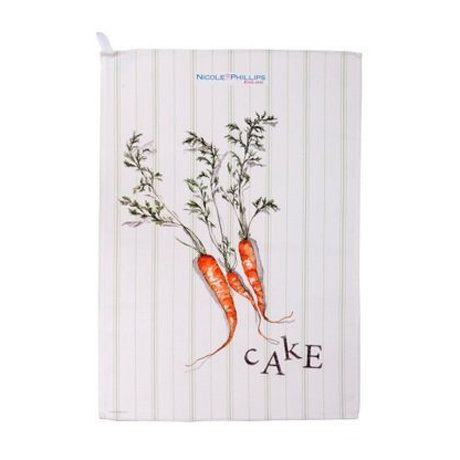 This striped cotton tea towel, featuring a humorous carrot cake design, is from Nicole Phillips' appealing range of British-made kitchen linens.  Other tea towels in this range, which make perfect gifts for those with a sweet tooth, are cherry bakewell and rhubarb & custard.  It includes a fabric loop for hanging in your kitchen and is machine washable at 30°C.  Colour: white/orange/green.  Measurements: 46cm x 66cm.