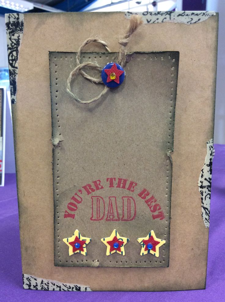 Very simple demo Father's Day card using April 2014 Creativity free stamps