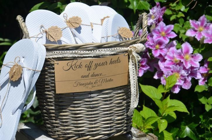 Flip Flop Korb für Gäste Hochzeit *VINTAGE*  von Majalino auf DaWanda.com