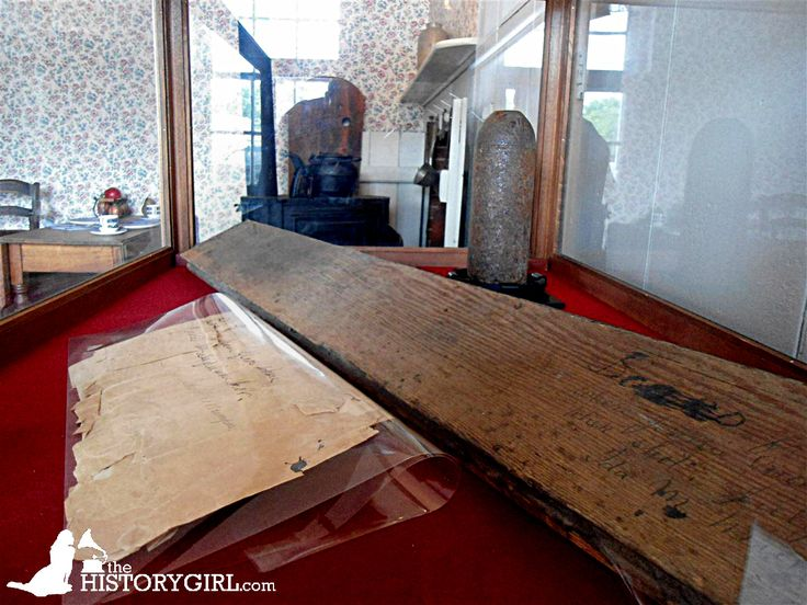 Blood-stained floorboard at the Jennie Wade House in Gettysburg, PA. Built in 1842, this home was witness to the Battle of Gettysburg. Mary Virginia Wade, better known as Jennie Wade, was the only civilian killed during the battle on July 3, 1863 while baking bread for Union soldiers. She was killed instantly by a single bullet that traveled through 2 wooden doors. The house was the residence of her sister, Georgia McClellan, who had given birth. Discover more history…