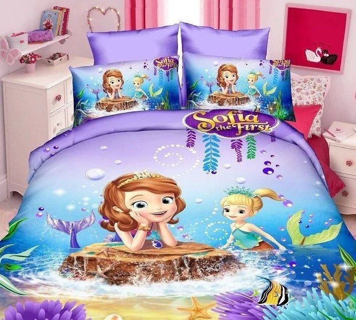 Princess Sophia the First Mermaid Cartoon Pink and Purple Duvet Cover Sets