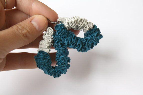 Fabric earrings Blue Grey Dangle earrings Fiber by ganbayo on Etsy