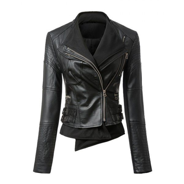 Trendy Style Turn-Down Collar Long Sleeve Faux Leather Slimming Women's Jacket,