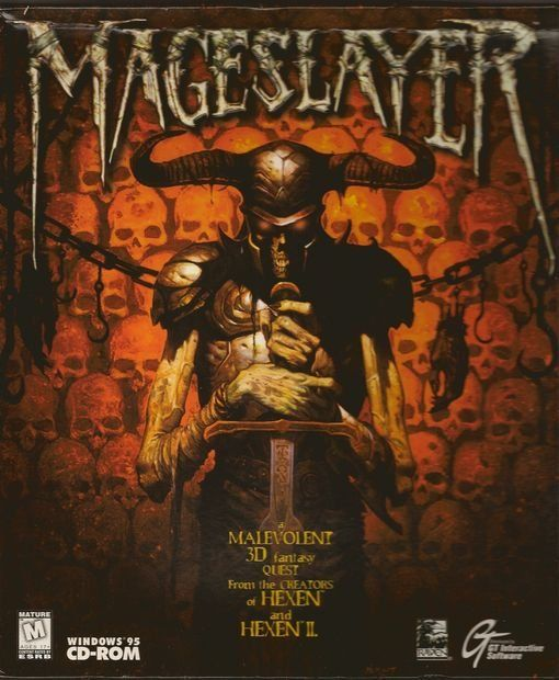 "The box art for ""MageSlayer"", a 1997 top-down ""hack & slash"" game for Windows 95 by Raven Software"
