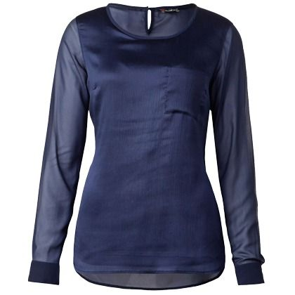 Blaue Bluse mit Chiffon ab 39,99 € ♥ Hier kaufen: http://www.stylefruits.de/chiffonbluse-street-one/p5460256 #StreetOne #Partyoutfit #Glanz