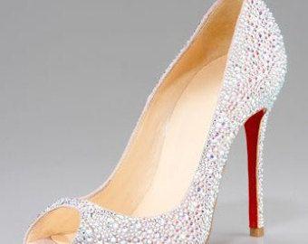 Cristallo-scarpe da sposa, scarpe alte spesse, partito scarpe, scarpe da sposa, Peep-toe scarpe