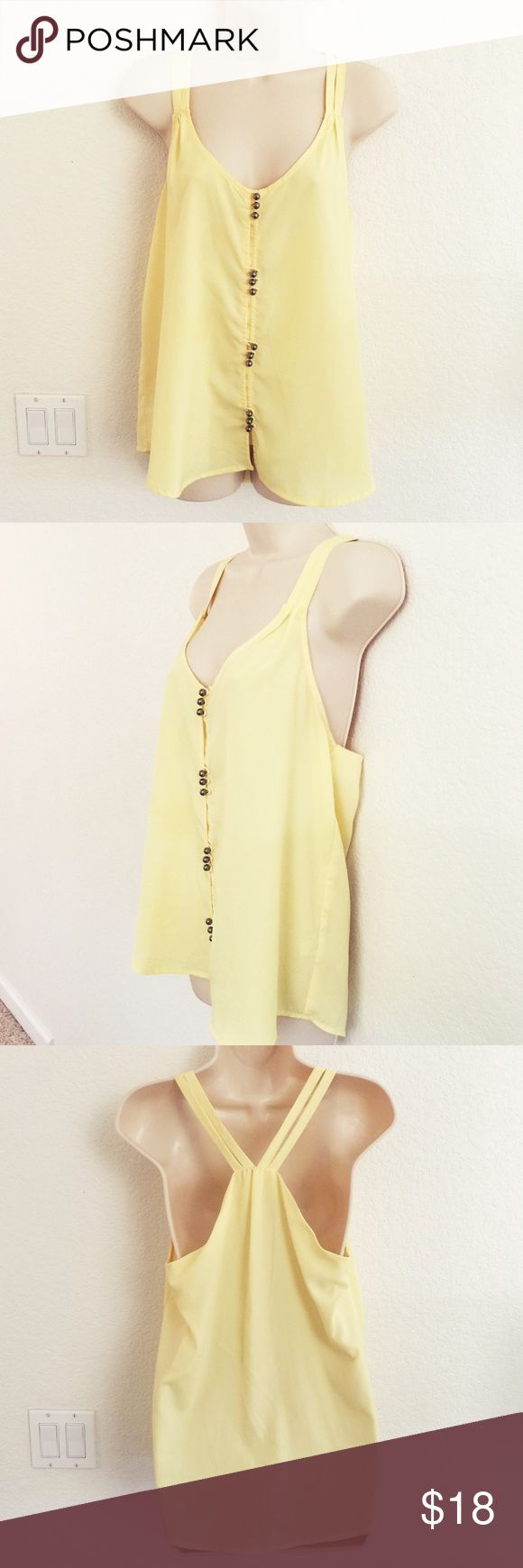 New Loose Tank NWOT, Loose fitted tank, Satin material, buttons are charcoal silver, light yellow color Zinga Tops
