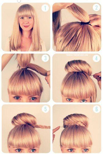 Cute braided bun updo hairstyle tutorial.
