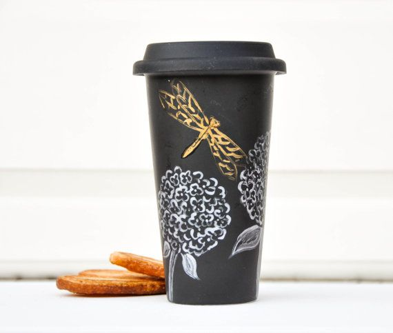 Silver and Gold Dragonfly Travel mug - Hand Painted Black  hydrangea porcelain eco-cup -Chalkboard with Silicon lid