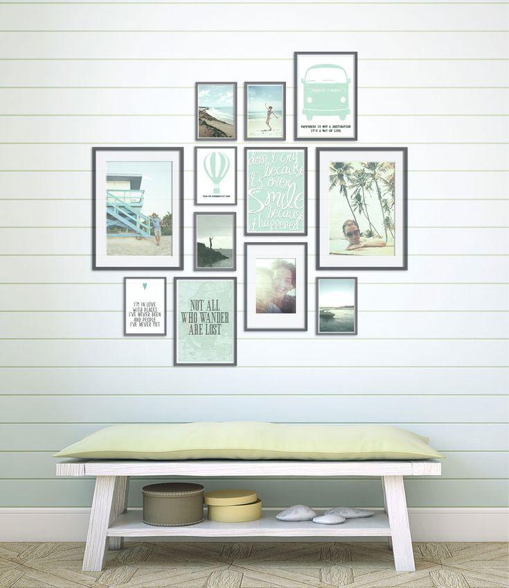 muurcollage met prints en instagram vakantiefoto's in fotolijstjes