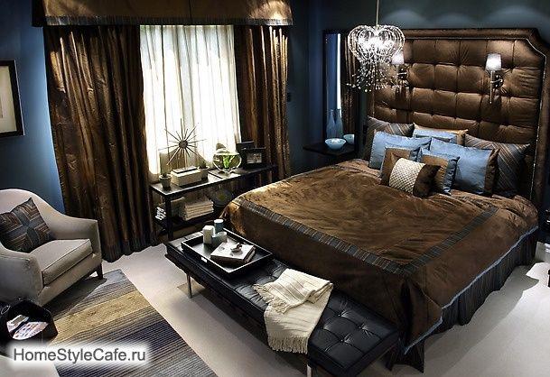 ФОТО ИНТЕРЬЕРА СПАЛЬНИ. Интерьер спальни с оригинальным изголовьем кровати. Романтические и стильные интерьеры спален.