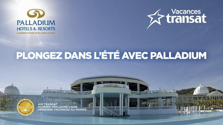 Participez au concours sur la page Facebook d'Air Transat et vous pourriez gagner l'un des 4 voyages tout inclus d'une semaine pour deux dans un hôtel Palladium!
