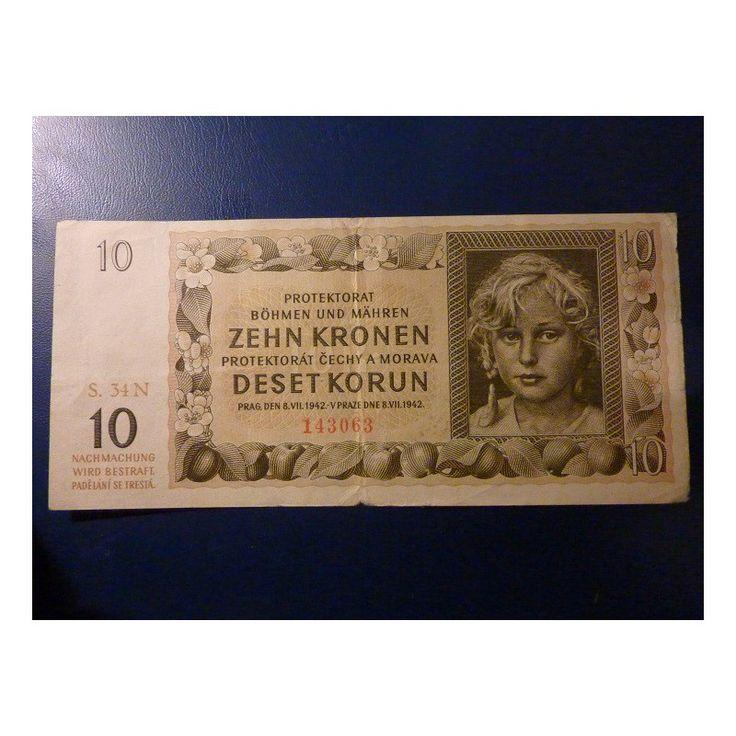 Protektorát Čechy a Morava, 10 Korun, bez perforace - rok 1942 Nominální hodnota : 10 K Rozměry : 150 x 69mm