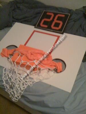 Homemade Basketball Hoop Costume: Get Dunked On! Literally. Here is a little play by play of my basketball hoop costume this year: Materials I needed: Foam white board, Basketball Net,