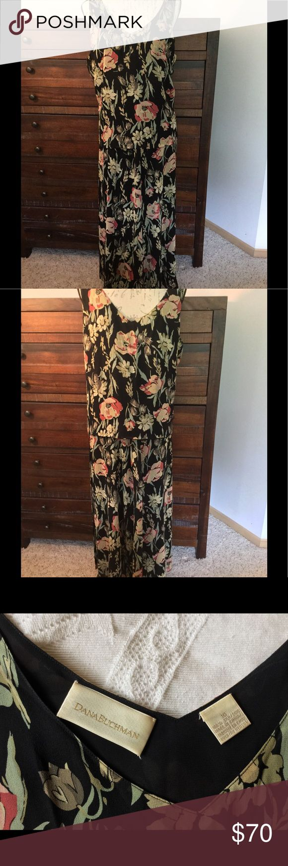 "Dana Buchman two piece dress Dana Buchman two piece dress.  38"" size 10 skirt with matching size 16 tank.  Black with muted green, beige, pink floral pattern.  100% Silk.  Great for summer weddings! Dana Buchman Dresses"