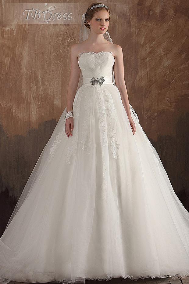 Elegant A-line Ruched Strapless Applique Empire Long Wedding Dress : Tbdress.com