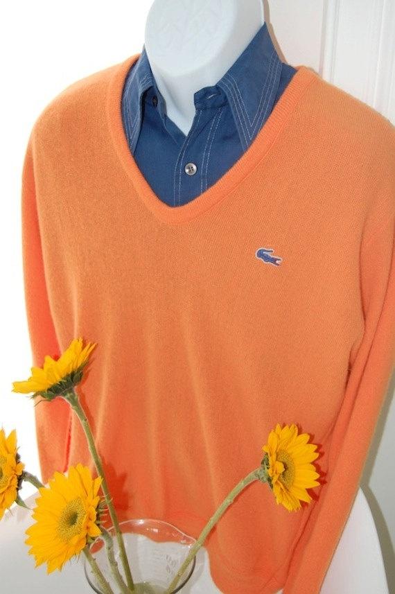 VINTAGE 1970's izod lacoste cardigan orange vneck golf by bamapana. $25.00, via Etsy.