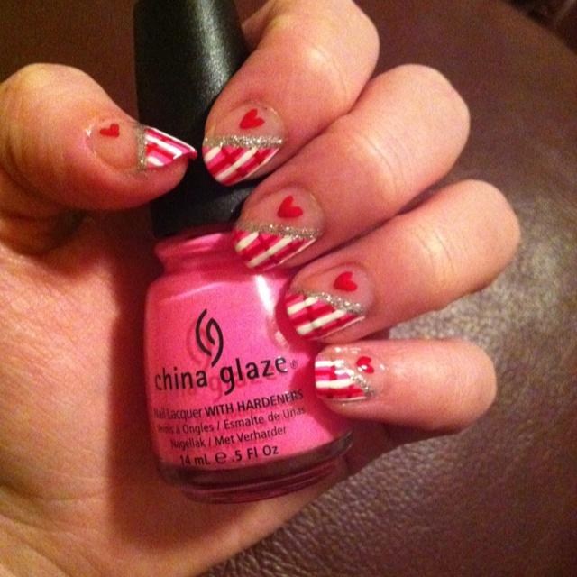 My valentines day manicure!   Valentines Day Manicure Ideas   Pintere