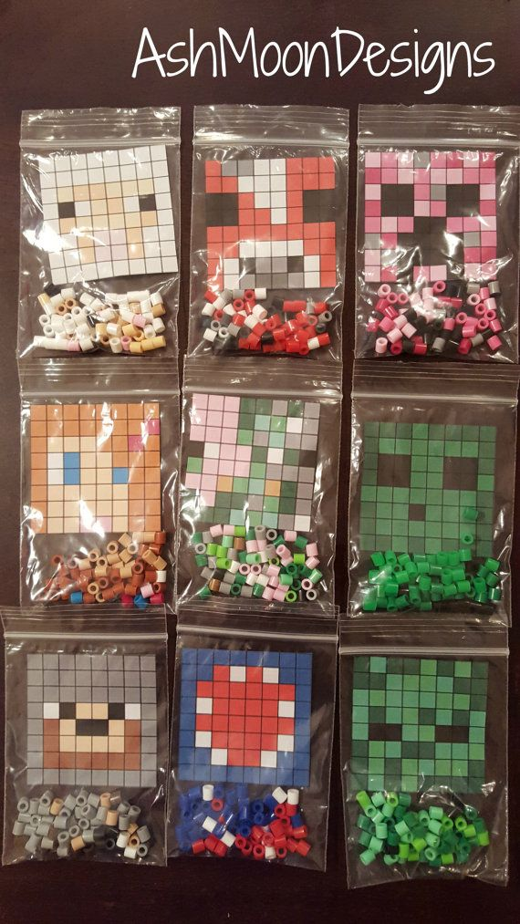 Etsy の Minecraft Perler Bead DIY Kits by AshMoonDesigns