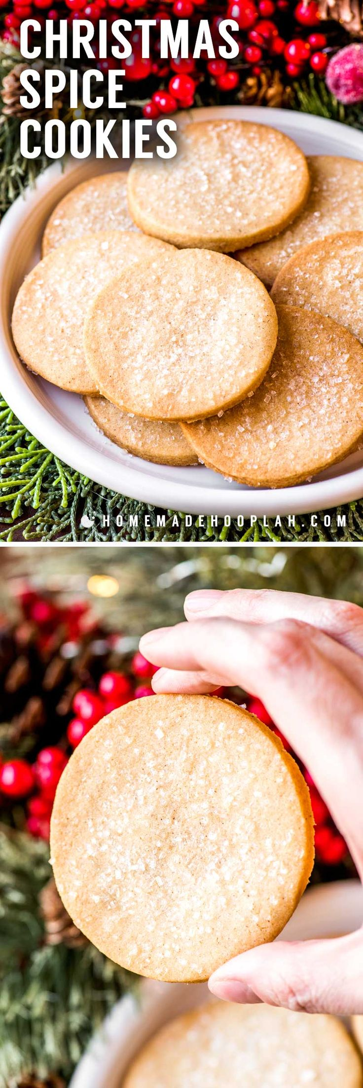 Christmas Spice Cookies! Classic vanilla cookies with a dash of the best holiday spices. Decorate with coarse sugar for a little extra crunch and touch of sweetness! | HomemadeHooplah.com