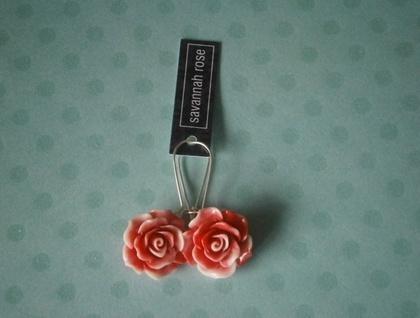 Raspberry & Cream Rose Earrings