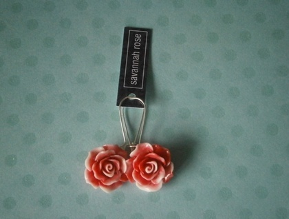 Raspberry & Cream Rose Earrings
