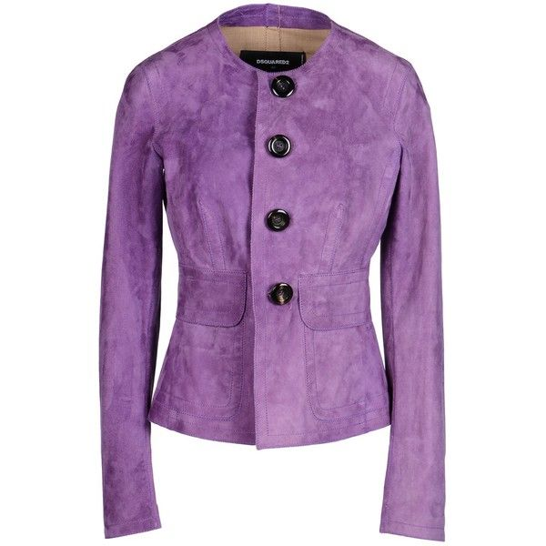 Dsquared2 Blazer (1,805 CAD) ❤ liked on Polyvore featuring outerwear, jackets, blazers, purple, purple blazer, genuine leather jackets, leather blazer, leather blazer jacket and purple jacket