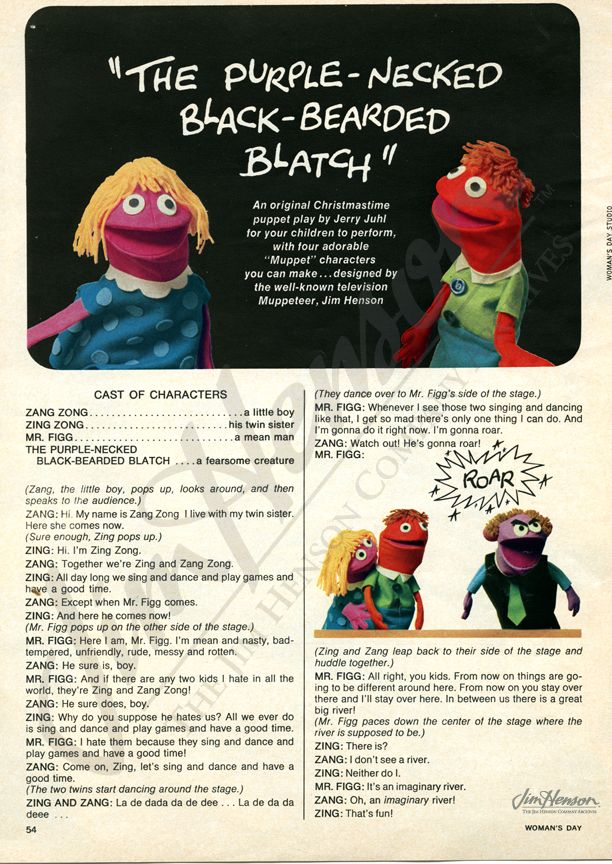 Woman S Day Article December 1969 W Patterns For Muppets Muppets Jim Henson Mario Characters
