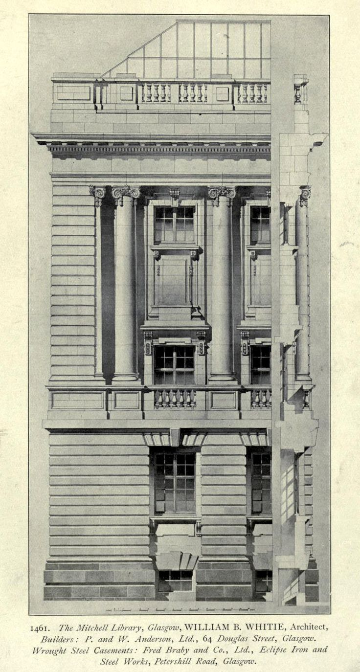 Elevation detail of the projected Mitchell Library, Glasgow