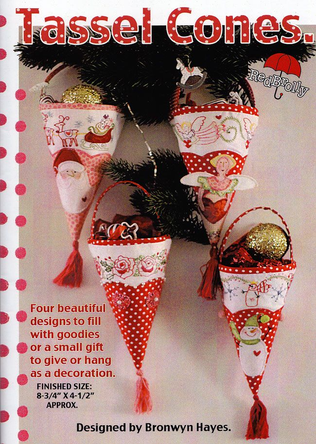 Christmas Tassel Cones. Such fun for Christmas. To view the full collection of the patterns please visit us at http://www.australianneedlearts.com.au/bronwyn-hayes?page=1