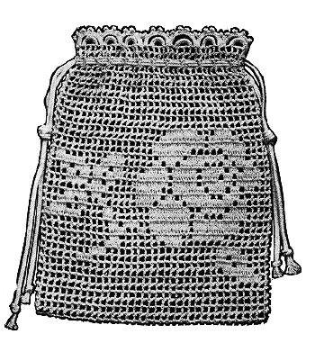 crochet wedding purse patterns   Crochet Wedding purse bag Tea Rose filet crochet design Vintage 1915 ...