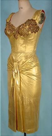 c. 1950's Gold Lame EVE ORIGINAL Beaded and Embroidered Bodice Dress