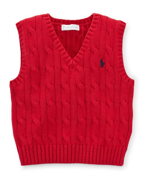 Cable-Knit Cotton Sweater Vest - Baby Boy Sweaters - RalphLauren.com