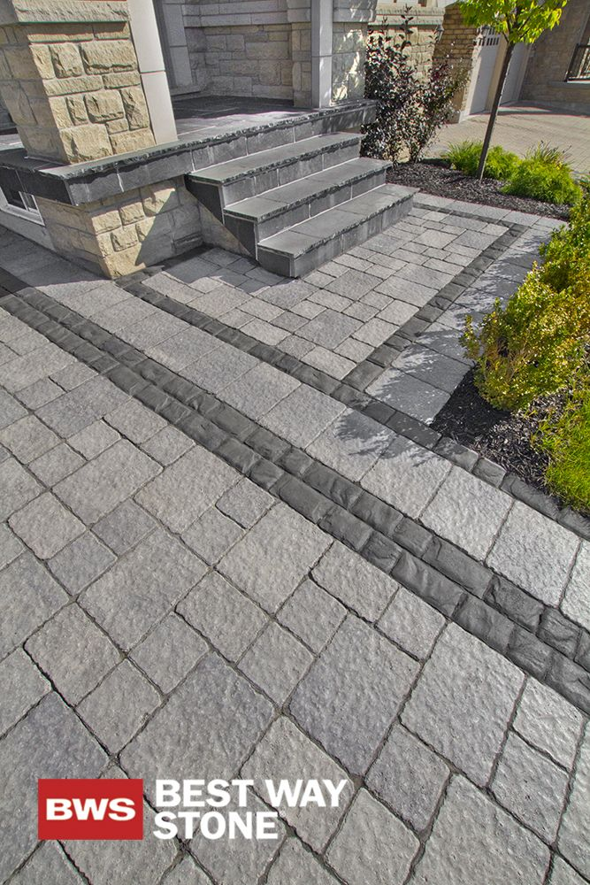 Best Way Stone > Paver: Strada Nova (grey mix) // Accent: Corso (Ultra Black) #outdoor #landscape #design #entrance available at our store at 3500 Mavis Rd, Mississauga, ON L5C 1T8