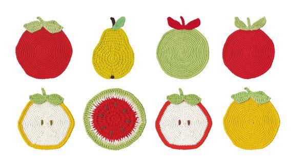 Digital Clipart, Clipart frutta, frutti di uncinetto, uncinetto elementi Clipart, foto d