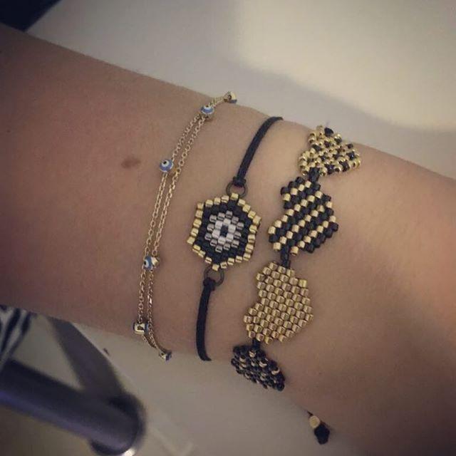 Hem kalpli hem nazar boncuklu! En beğenilen iki model yan yana  #miyuki #miyukilove #miyukibeads #miyukiaddict #miyukibileklik #miyukidelica #handmadejewellery #handmadejewelry #moda #aksesuar #jewellery #handmade #madewithlove #nazarboncugu #kalp #heart #black #gold #siyah #altın #takı #taktakıştır #simgenintakıları #leydimiyuki #izmir #izmirturkey #bileklik #bracelet #fashion