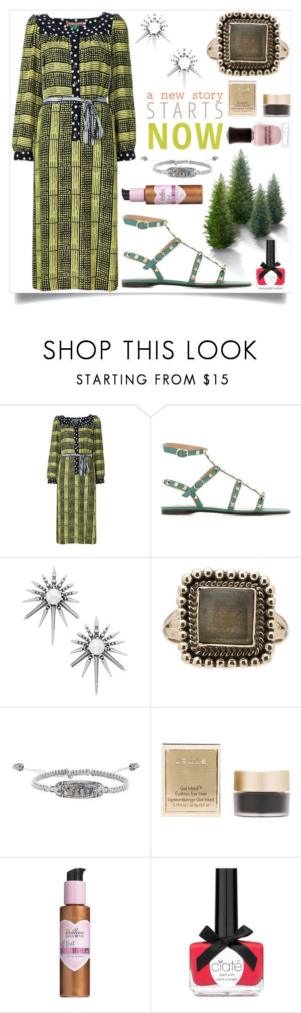 """""""A new story starts now"""" by camry-brynn ❤ liked on Polyvore featuring Duro Olowu, Valentino, Kendra Scott, Child Of Wild, Stila, Million Dollar Tan and Deborah Lippmann"""