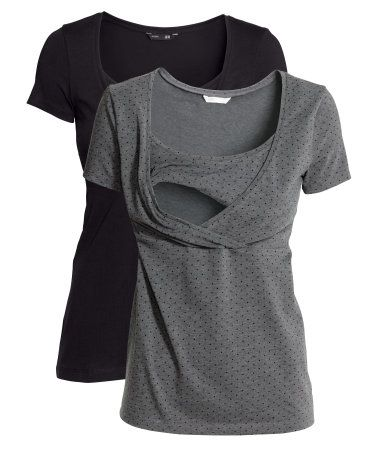 CONSCIOUS. Short-sleeved tops in organic cotton jersey. Wrapover front and practical liner top for easier nursing.