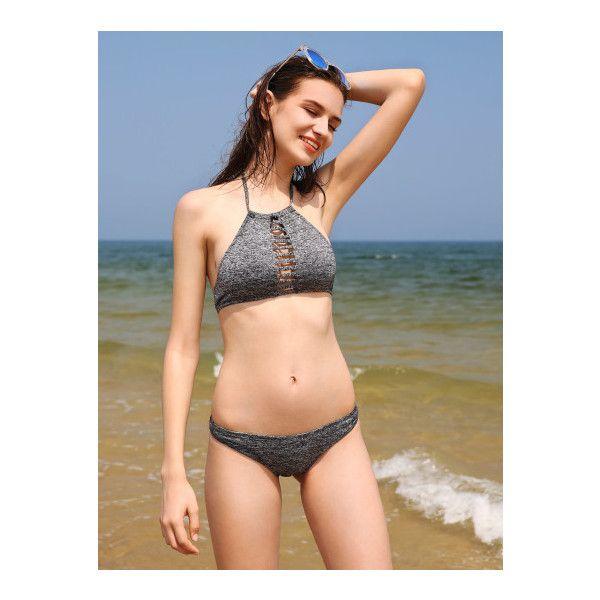 SheIn(sheinside) Ladder Cutout Space Dye Halter Bikini Set ($15) ❤ liked on Polyvore featuring swimwear, bikinis, grey, cut out bikini, sexy swimwear, bikini swimwear, cut-out swimwear and sexy swim wear