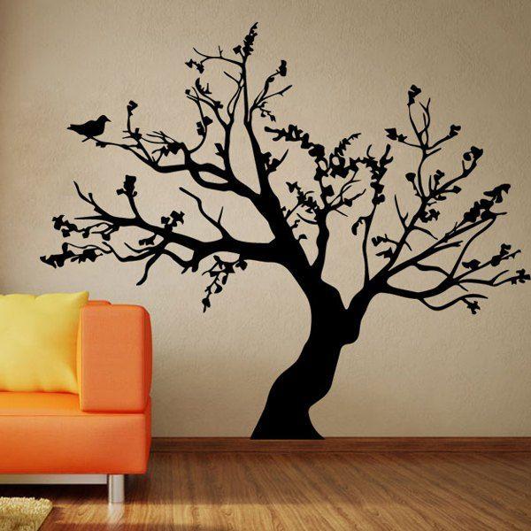 Fashion Big Tree Pattern Background Wall Sticker For Bedroom Livingroom Decoration - Black Mobile