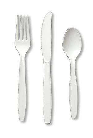 white plastic cutlery sets