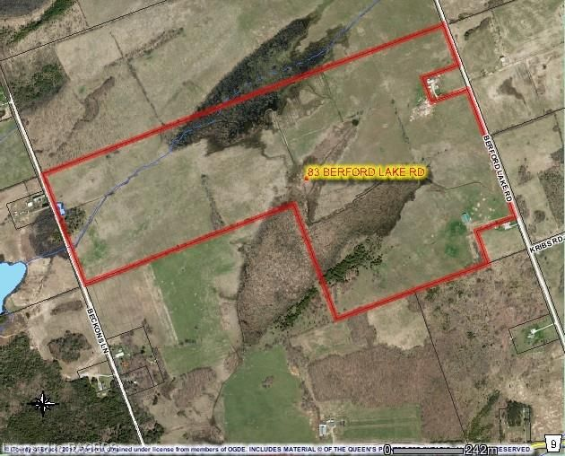 83 Berford Lake Road, South Bruce Peninsula - $599,000  Picturesque acreage, approximately 209 acres with frontage on Berford Lake Road, close to Berford Lake, Mallory Beach and Wiarton; with frontage on Beckons Lane, a quiet dead-end gravel road tucked away off the main road. Property features bush, 100 arable acres and pasture fields that are currently fully fenced and 50 acres rented. The 40' x 100' coverall can be accessed off Berford Lake Road.