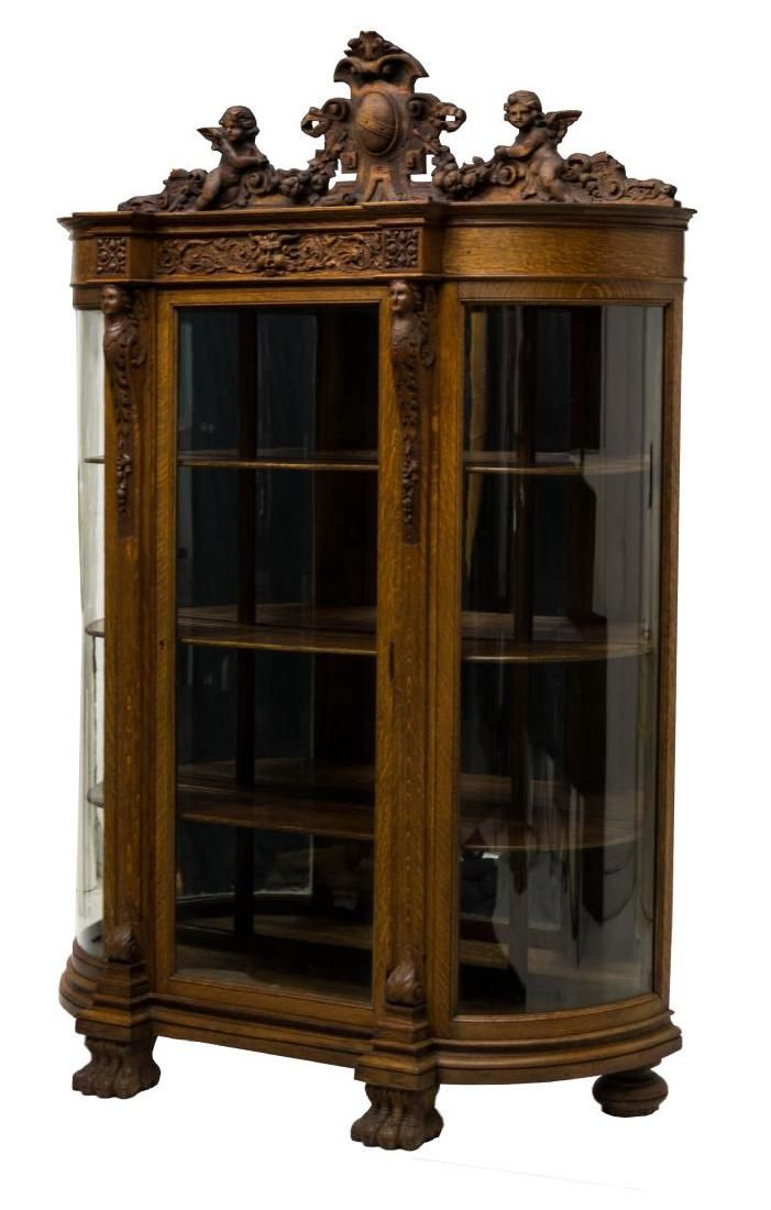 American Curved Glass China Cabinet, attr. to Horner.