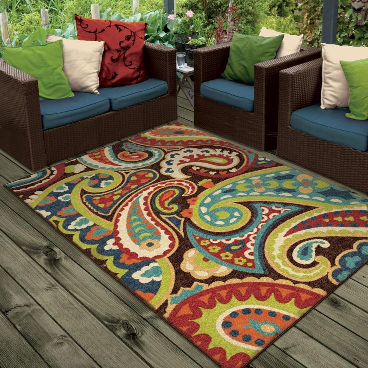 Colorful Indoor Outdoor Rug 8x10