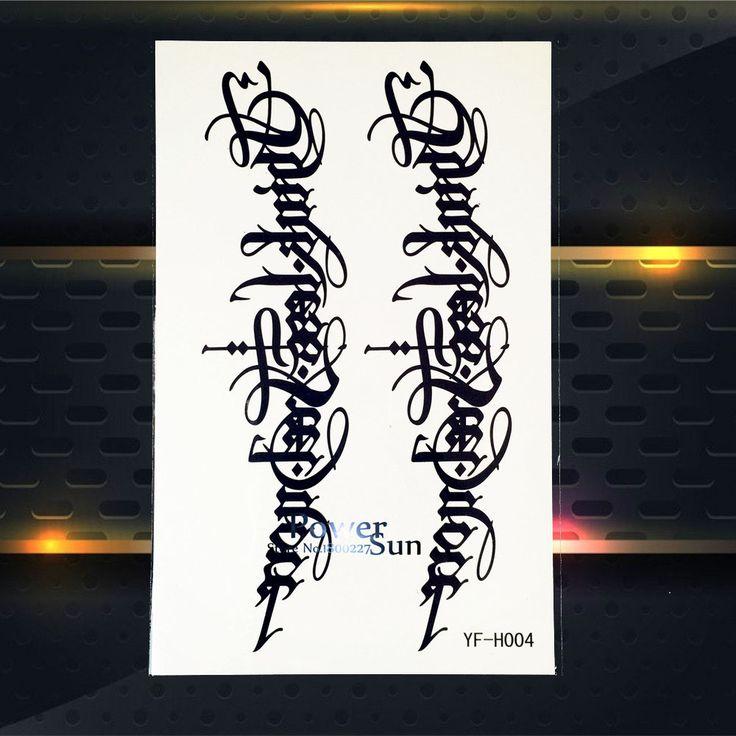 Модные Черные Чернила Поддельные Руку Татуировки Модные Слова Письмо Дизайн Мужчины Женщины Тела Рука Искусство Водонепроницаемый Временные Татуировки Наклейки PYFH004