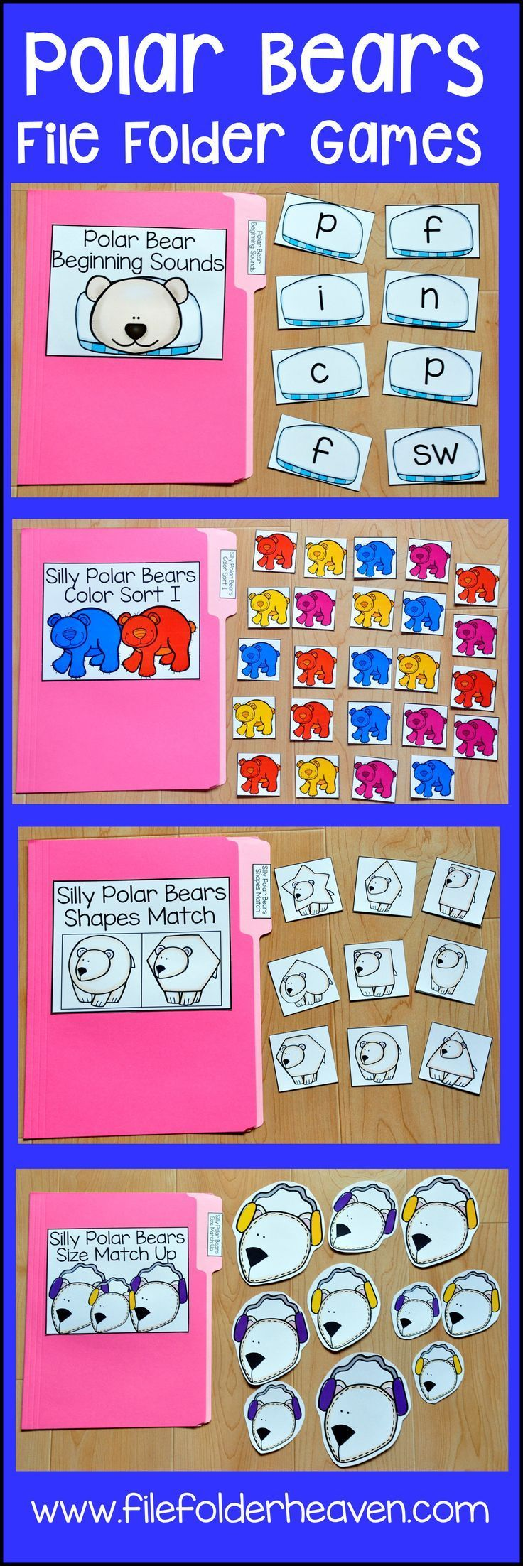 This Polar Bear File Folder Games Mini-Bundle focuses on basic matching and sorting skills.    This set includes nine unique file folder games with three bonus games for differentiation (for a total of 12 games!) These activities  focus on basic skills, such as matching picture to picture, matching shapes, matching numbers, matching letters, matching by size, sorting by size, sorting by color, and sorting by likeness and differences.