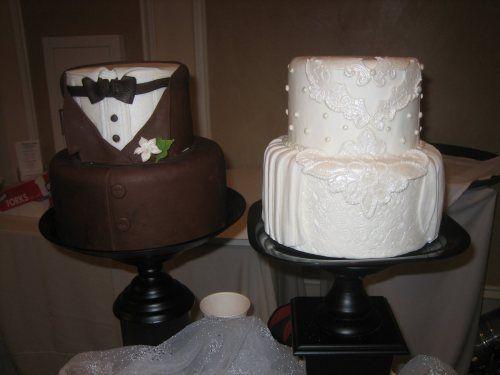 Wedding Dress Cake & Tuxedo CakeCake Cupcakes, Brides Grooms, Couples Shower, Grooms Cake, Pastel De Bodas, Bridal Cake, Cake Ideas, Wedding Cake, Tuxedos Cake