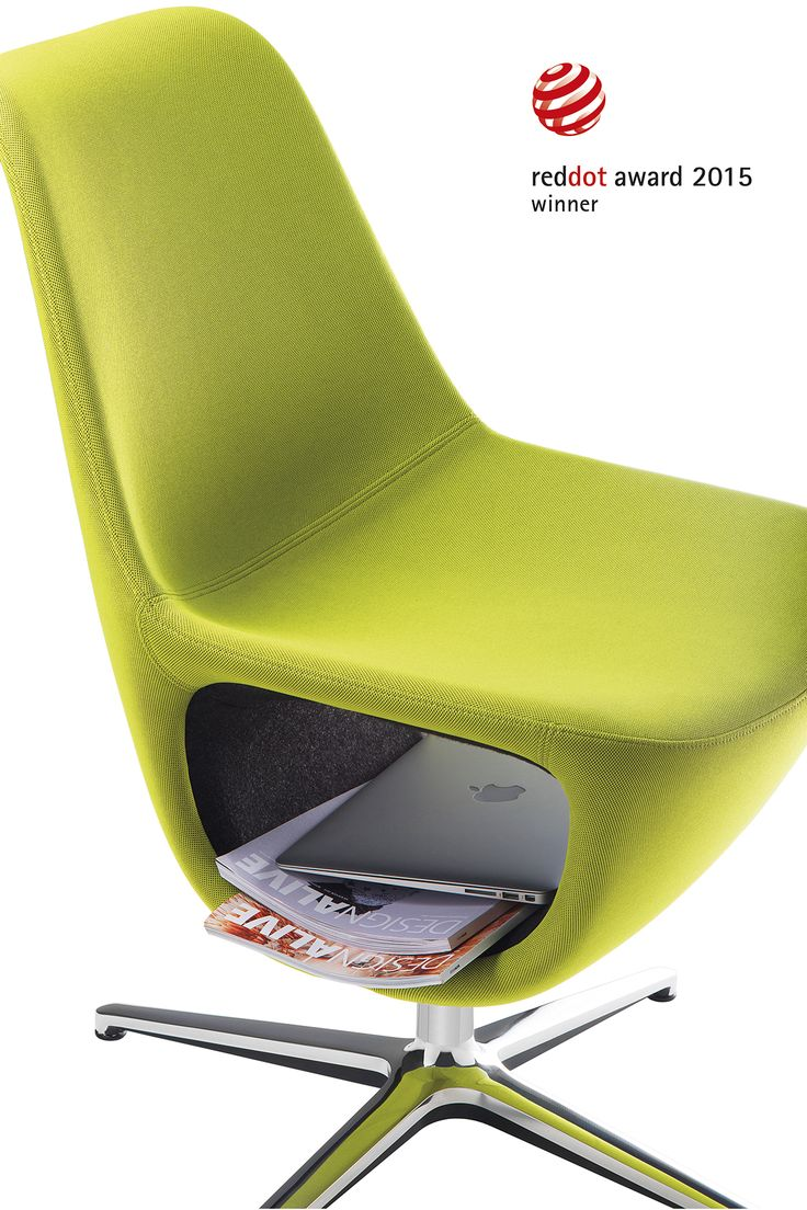 """Pelikan from #Profim awarded the """"winner"""" Red Dot Award 2015 title. The organic shape of the armchair is excellent for places were one needs to sit for longer periods of time. The lower part of the seat is fitted with a space on which one can place a book, a laptop or a bag. Collection: Pelikan. Design: Mac Stopa / M. Ballendat."""