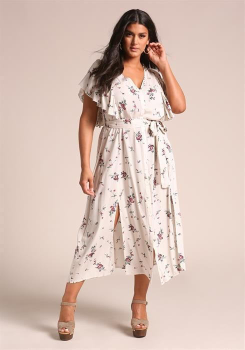 696e78f690a0a Plus Size Floral Multi Slit Ruffle Maxi Dress