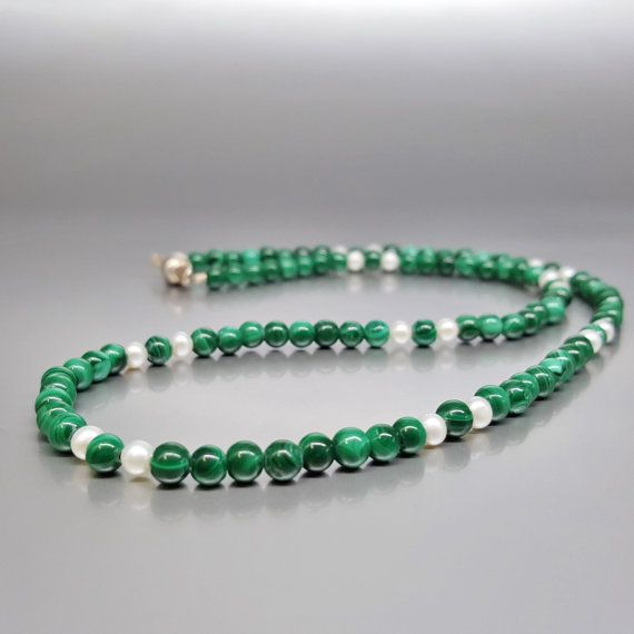 Check out Fine necklace Malachite with freshwater pearl and Sterling silver clasp - gift idea - holiday season on gemorydesign